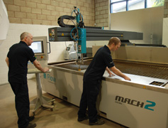Waterjet Cutting - Andy and Stephen preparing machine